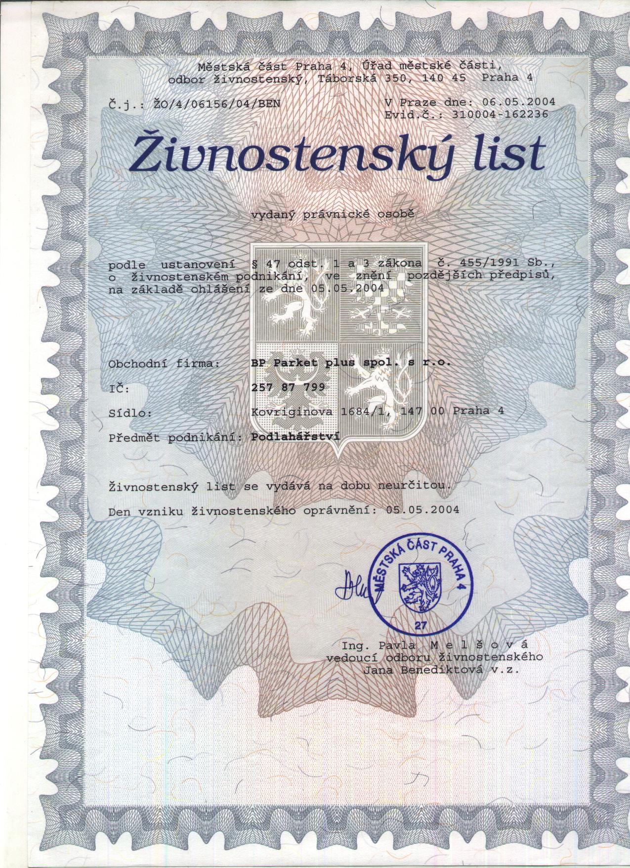 Živnostenské oprávnění BP Parket pro služby podlahářství vydané živnostenským úřadem Praha 4