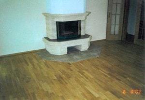 Dubová parketová podlaha - skladba řemen v obývacím pokoji